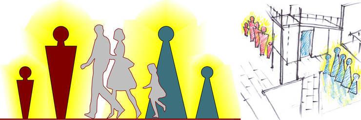 Эскиз дизайн-знака туалета с подсветкой в темное время суток:  в . Автор – Бюро Акимова и Топорова