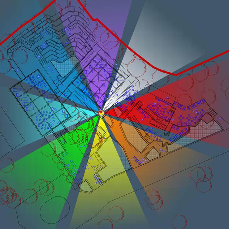 Схема вечернего освещения комплекса:  в . Автор – Бюро Акимова и Топорова