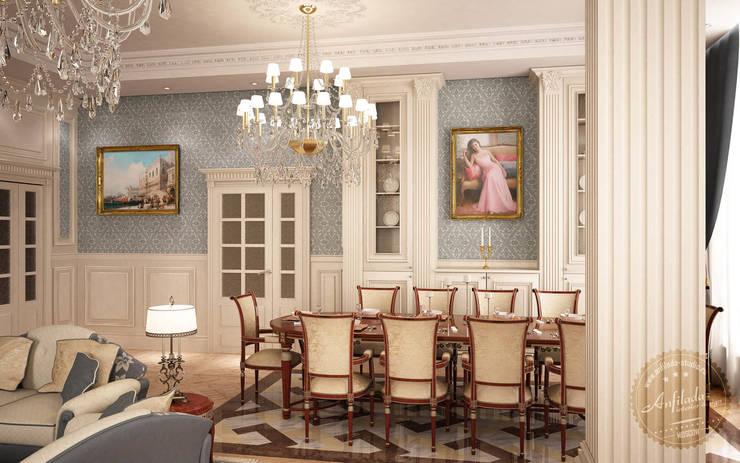 Классика в светлых тонах: Гостиная в . Автор – Anfilada Interior Design