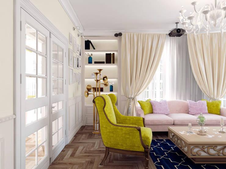 Квартира в ЖК <q>Парадный квартал</q>: Гостиная в . Автор – Студия дизайна интерьера Маши Марченко,
