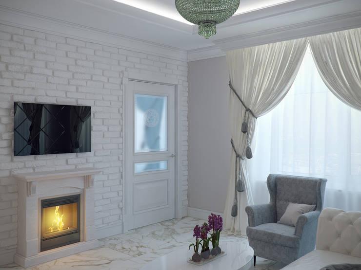 Квартира в мансарде на Петроградской стороне: Гостиная в . Автор – Студия дизайна интерьера Маши Марченко