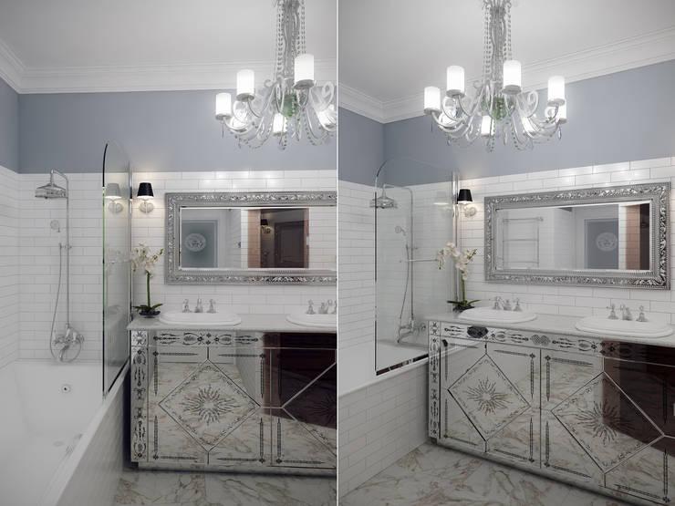 Квартира в мансарде на Петроградской стороне: Ванные комнаты в . Автор – Студия дизайна интерьера Маши Марченко