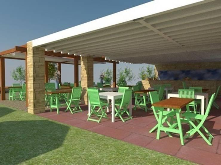 Vista en 3D del comedor exterior: Locales gastronómicos de estilo  de Buena Pieza Interiorismo