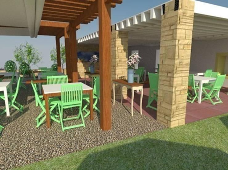 Vista zona de comedor exterior y barra 2: Locales gastronómicos de estilo  de Buena Pieza Interiorismo