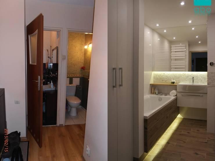 biała łazienka: styl , w kategorii  zaprojektowany przez abostudio