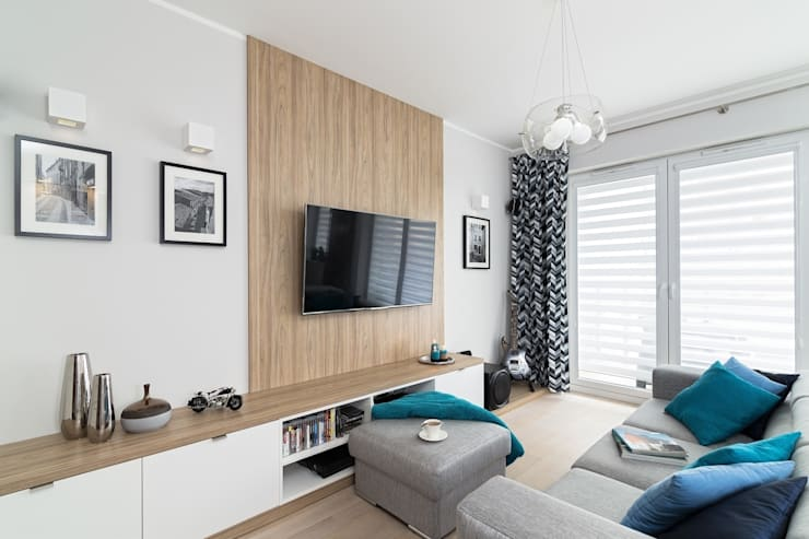 MIESZKANIE 72 M2: styl , w kategorii Salon zaprojektowany przez KRAMKOWSKA|PRACOWNIA WNĘTRZ