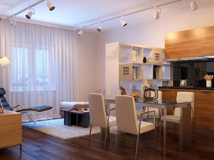 Квартира в скандинавском стиле в Перми: Гостиная в . Автор – Студия дизайна интерьера Маши Марченко