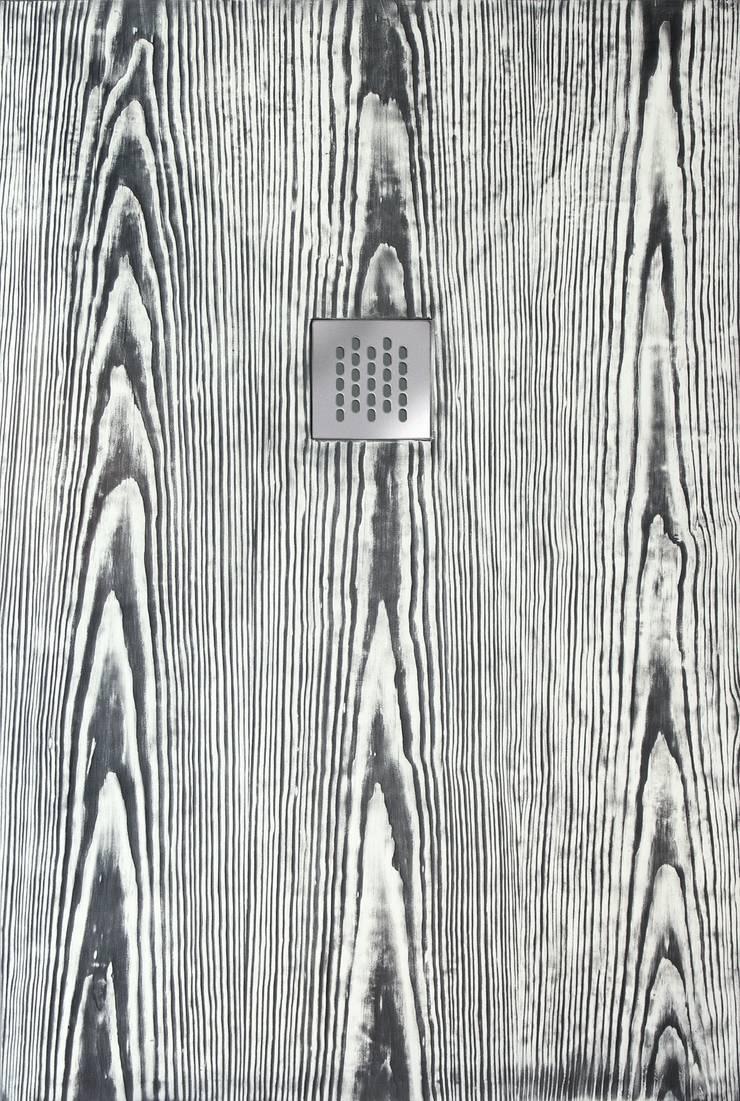 Plato de ducha Madera - Blanco y Negro: Baños de estilo  de BATH