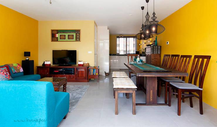 Geel turquoise woonkamer:   door Levenssfeer, Aziatisch