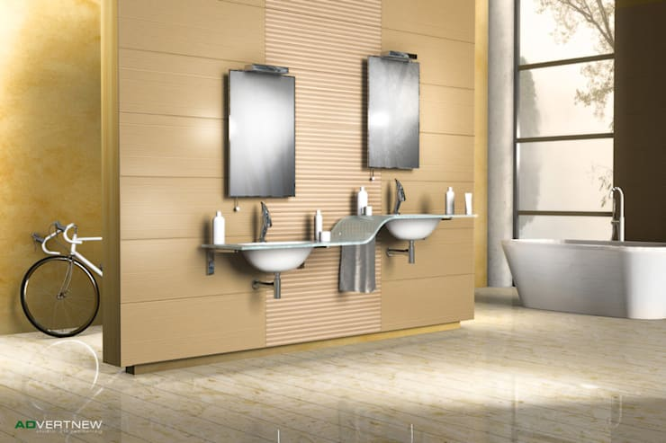 3D Rendering di interno per catalogo ceramica: Bagno in stile  di ADVERTNEW