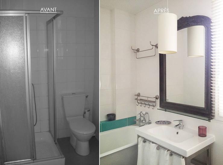Une salle de bain pleine de charme • Houilles 78:  de style  par Agnès Dandine - Chichichic