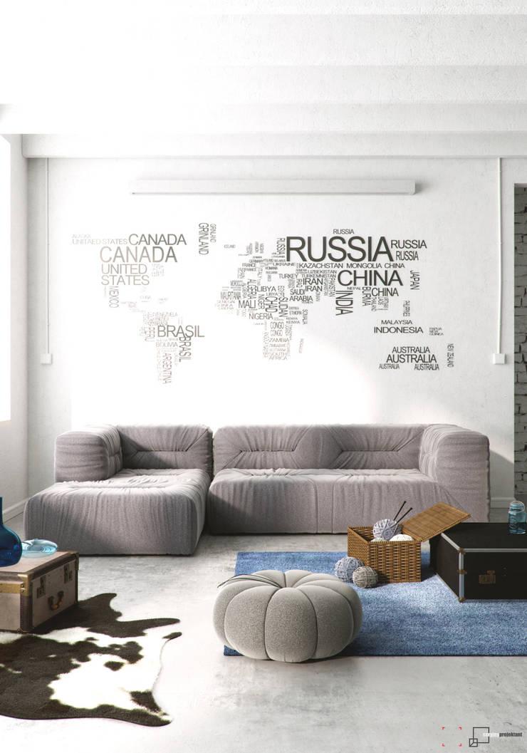 Na walizkach...: styl , w kategorii Salon zaprojektowany przez Seryjny Projektant
