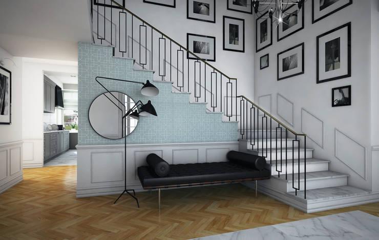wizualizacja do projektu domu w stylu New Modern, hol : styl , w kategorii Korytarz, przedpokój zaprojektowany przez Pracownia Projektowa Pe2