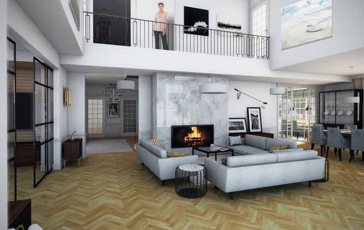 wizualizacja do projektu domu w stylu New Modern, salon: styl , w kategorii Salon zaprojektowany przez Pracownia Projektowa Pe2