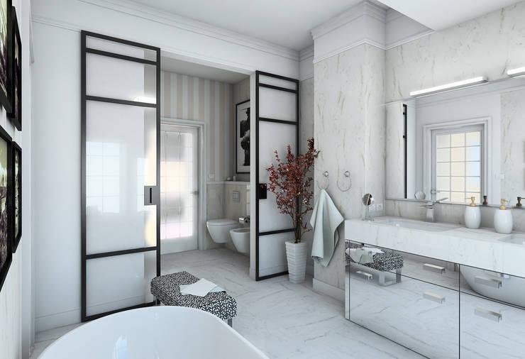wizualizacja do projektu domu w stylu New Modern, łazienka przy głównej sypialni: styl , w kategorii Łazienka zaprojektowany przez Pracownia Projektowa Pe2