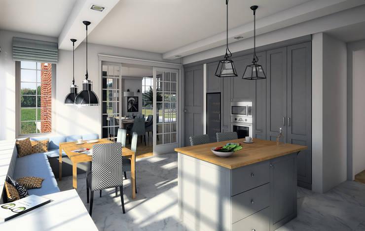 wizualizacja do projektu domu w stylu New Modern: styl , w kategorii Kuchnia zaprojektowany przez Pracownia Projektowa Pe2