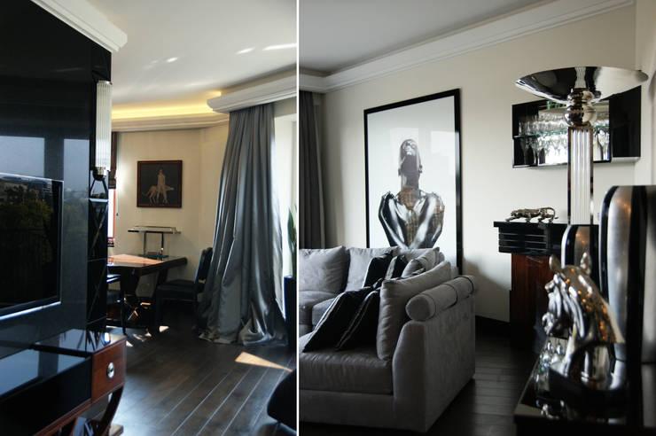 Apartament inspirowany Art Deco: styl , w kategorii Salon zaprojektowany przez Pracownia Projektowa Pe2