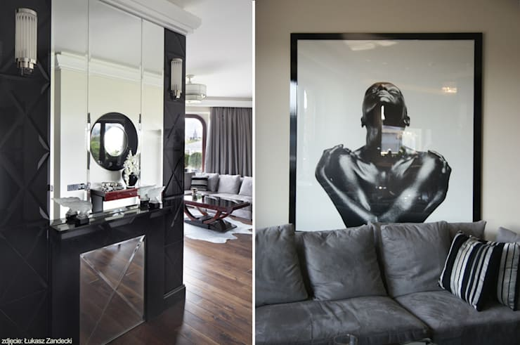 Apartament na Mokotowie inspirowany Art Deco: styl , w kategorii Korytarz, przedpokój zaprojektowany przez Pracownia Projektowa Pe2
