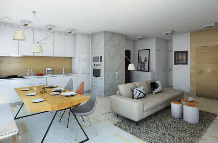 wizualizacja do projektu mieszkania na Woli: styl , w kategorii Salon zaprojektowany przez Pracownia Projektowa Pe2