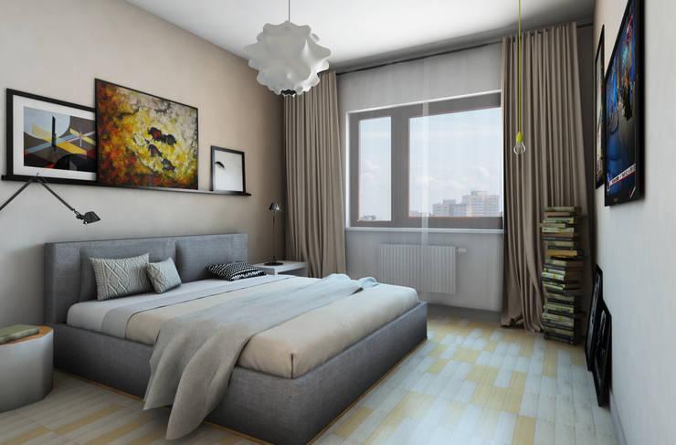 wizualizacja do projektu mieszkania na Woli: styl , w kategorii Sypialnia zaprojektowany przez Pracownia Projektowa Pe2