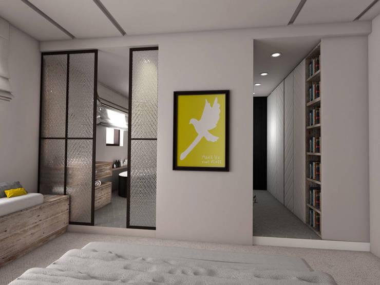 widok na łazienkę i garderobę: styl , w kategorii Sypialnia zaprojektowany przez Pracownia Kaffka