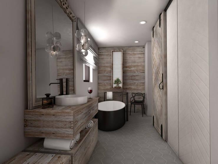 widok z sypialni: styl , w kategorii Łazienka zaprojektowany przez Pracownia Kaffka