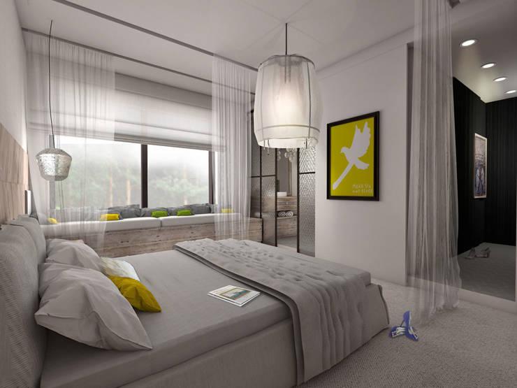 Sypialnia ze szczyptą romantyzmu: styl , w kategorii Sypialnia zaprojektowany przez Pracownia Kaffka
