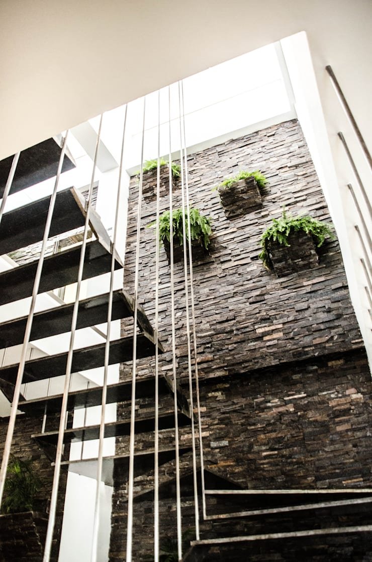 Escalera y jardin: Pasillos y recibidores de estilo  por ARKOT arquitectura + construcción