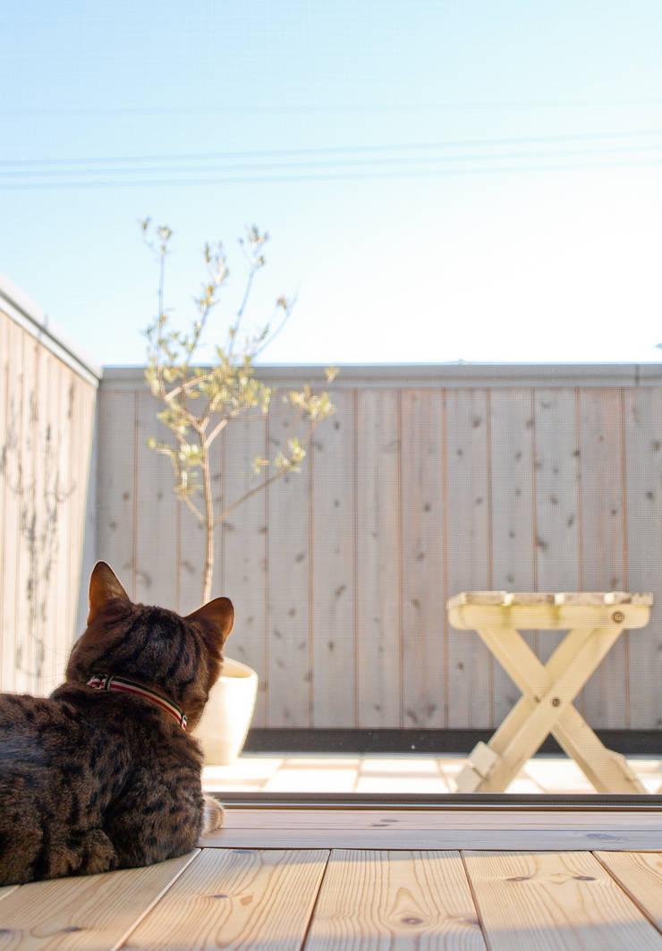 空が見えるリビングテラス: 篠田 望デザイン一級建築士事務所が手掛けたベランダです。