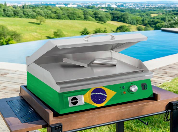 BBplancha pro 550 électrique 100% inox drapeau Brésilien: Jardin de style  par intercol