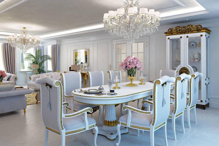 Столовая часть в гостиной: Столовые комнаты в . Автор – Частный дизайнер,