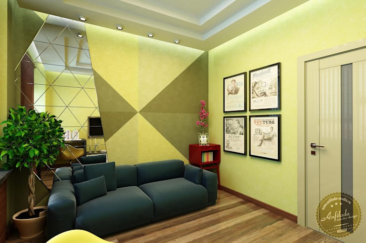 Яркая спальня-кабинет с настроением: Спальни в . Автор – Anfilada Interior Design
