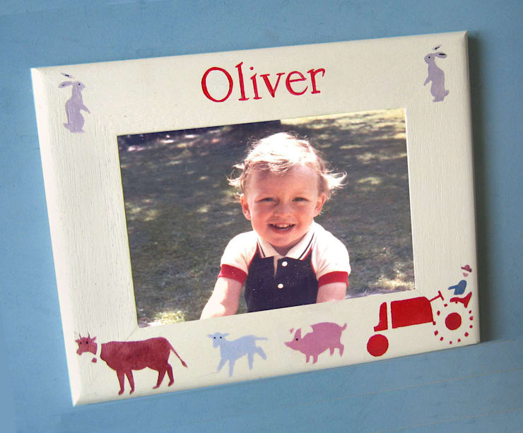 Retro Farm Personalised Photo-frame:  Nursery/kid's room by Anne Taylor Designs