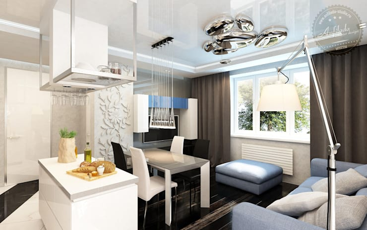 50 оттенков серого: Гостиная в . Автор – Anfilada Interior Design
