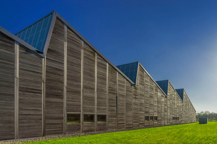 Bedrijfspand Mega Hout & Plaat te Drachten:  Kantoorgebouwen door Dorenbos Architekten bv, Industrieel