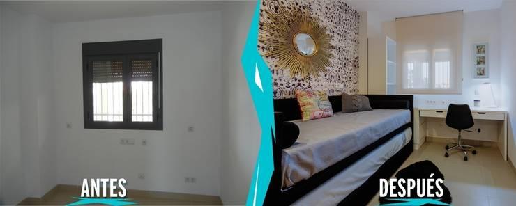Dormitorio Juvenil. Proyecto Vivienda Unifamiliar Planta Baja:  de estilo  de CARMAN INTERIORISMO