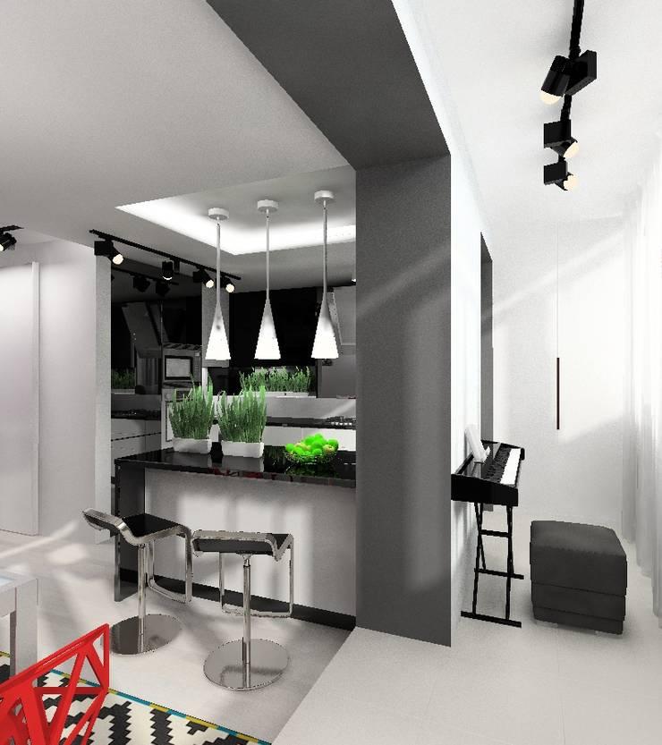 Черно-белая квартира: Гостиная в . Автор – Design&Interior Krasilnikova