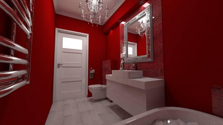 Łazienka wiśniowa: styl , w kategorii Łazienka zaprojektowany przez Katarzyna Wnęk