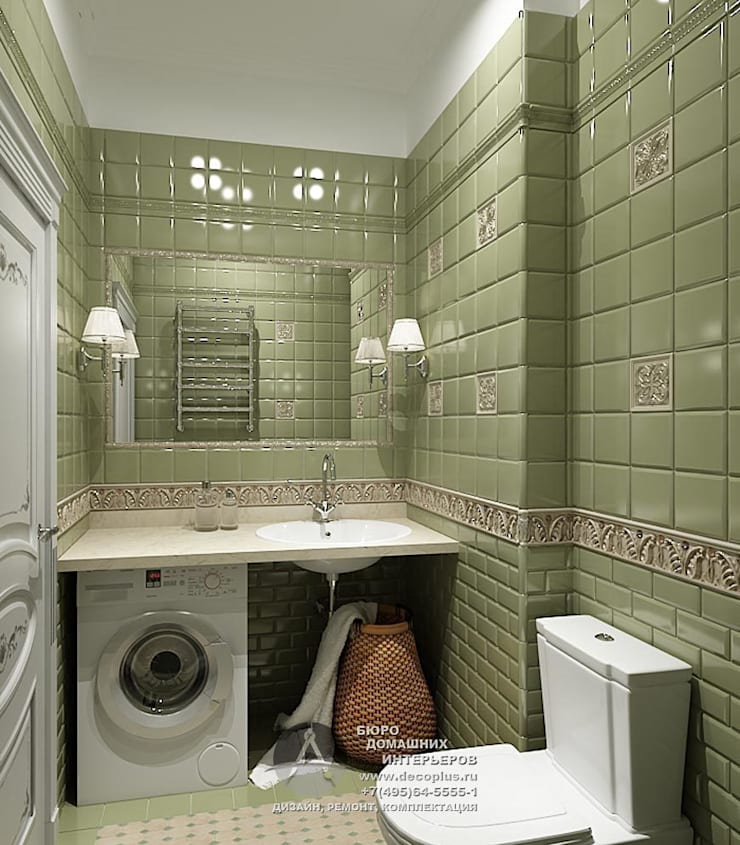 Дизайн санузла с элементами арт-деко: Ванные комнаты в . Автор – Бюро домашних интерьеров,