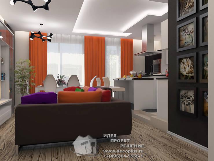 Яркий дизайн кухни объединенной с гостиной: Столовые комнаты в . Автор – Бюро домашних интерьеров, Минимализм