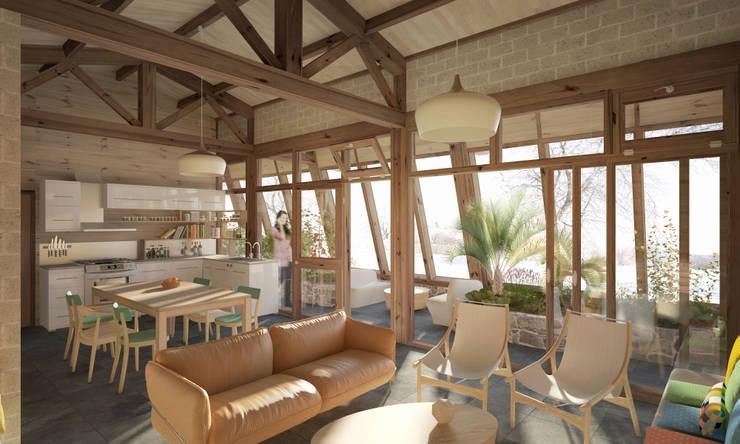 MAD # 01 (Maison Autonome Durable): Salon de style de style Moderne par archestra