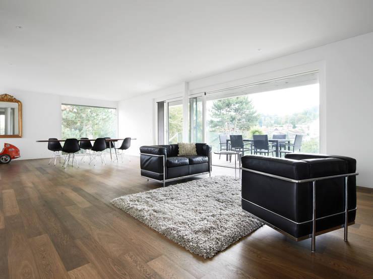 Haus L: moderne Wohnzimmer von nimmrichter architekten ETH SIA AG