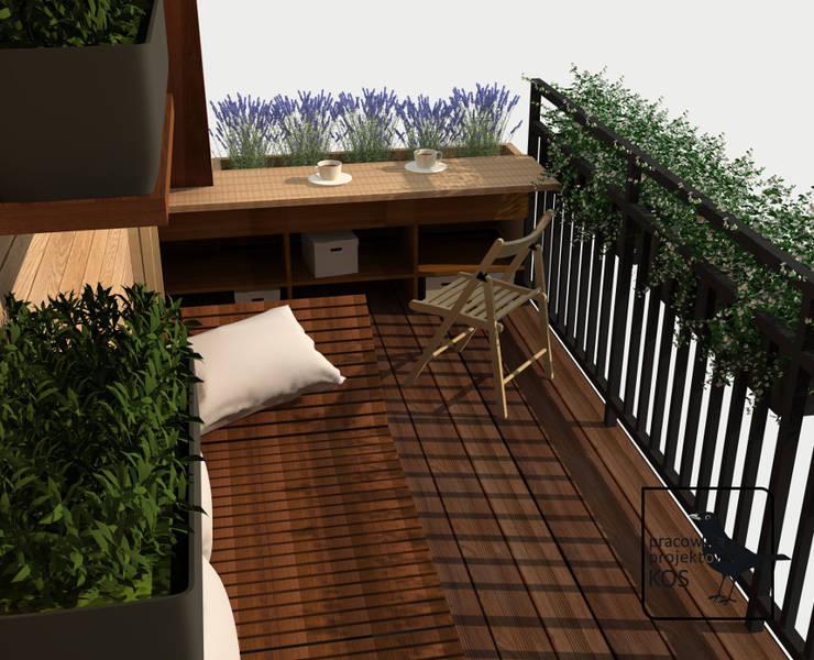 Aromatyczny balkon. Projekt aranżacji balkonu.: styl , w kategorii  zaprojektowany przez Pracownia projektowa KOS