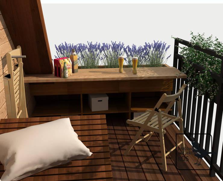Aromatyczny balkon. Projekt aranżacji balkonu. : styl , w kategorii  zaprojektowany przez Pracownia projektowa KOS