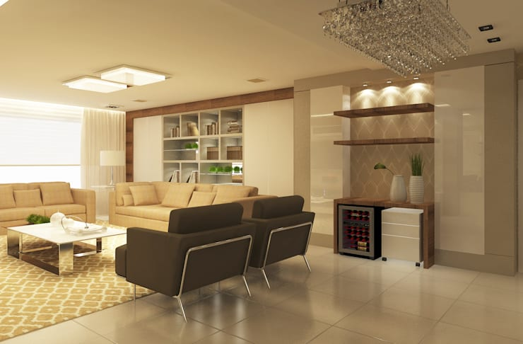 Área de Viver: Salas de estar  por Vanessa Guerra Arquitetura