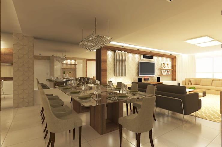 Área de Viver: Salas de jantar  por Vanessa Guerra Arquitetura