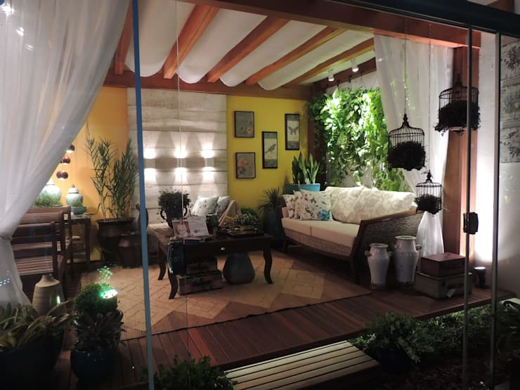 Pergolado para área externa: Jardins rústicos por Denise Fumagalli arquitetura e interiores