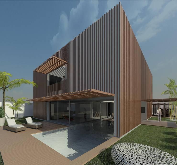 Casa Pátio, em Luanda, Angola: Piscinas  por Alberto Vinagre, arquitectos, Lda