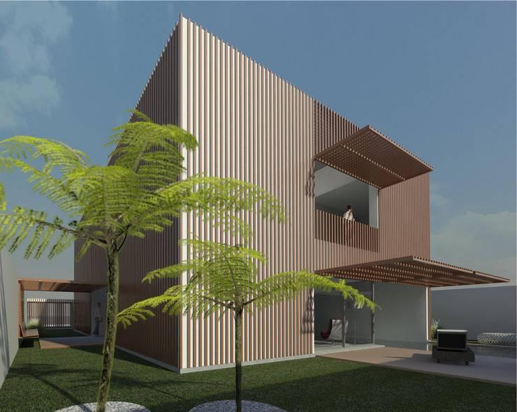 Casa Pátio, em Luanda, Angola: Jardins  por Alberto Vinagre, arquitectos, Lda