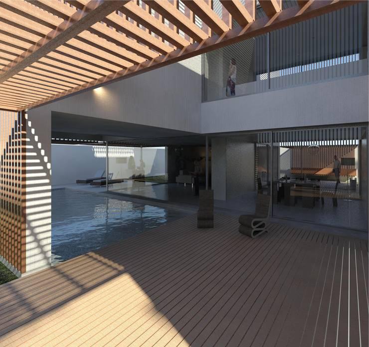 Casa Pátio, em Luanda, Angola: Salas de jantar  por Alberto Vinagre, arquitectos, Lda